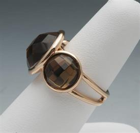 -SIZE 6 GOLD PLATED TOPAZ TYPE RING
