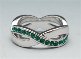 -SIZE 5 GREEN AND CRYSTAL SILVER TONE RING