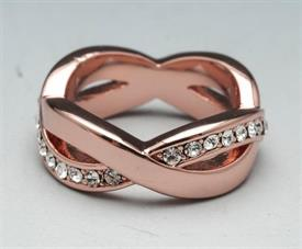 -SIZE 5 CRYSTAL AND ROSE GOLD COLORED RING