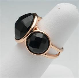 -SIZE 5 BLACK STONE WITH GOLD TONE METAL RING