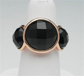 -SIZE 7 BLACK STONE WITH GOLD METAL RING