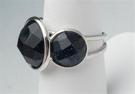 -SIZE 6 BLACK STONE WITH SILVER TONE RING