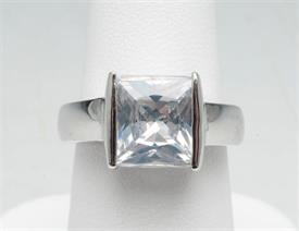 -SIZE 6 PRINCESS CUT SILVER TONE RING