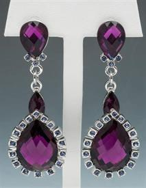 -Amethyst color drop earrings set in silver tone metal.