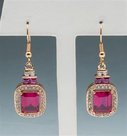 -Ruby colored and CZ drop earrings set in gold tone metal