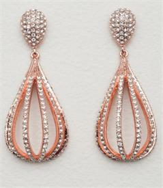 ,-CZ crystal drop earrings set in rose colored metal
