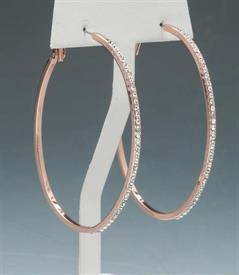 "-2.5"" ROSE TONE & CRYSTAL HOOPS"