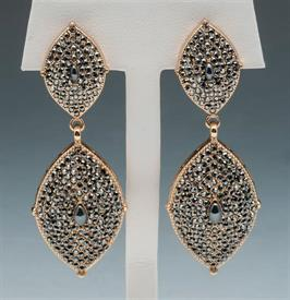 """-2.5"""" GOLD COLORED FASHION DROP EARRINGS WITH JET COLORED CRYSTALS"""