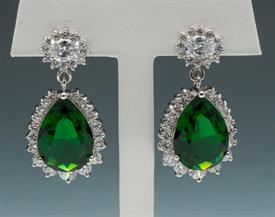 -EMERALD COLORED CRYSTAL & CLEAR CRYSTAL EARRINGS.