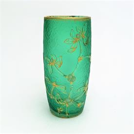 ",GUI MISTLETOE VASE. 5.25""T. HAND ENAMELING AND GOLD ON A GREEN GLASS BASE."