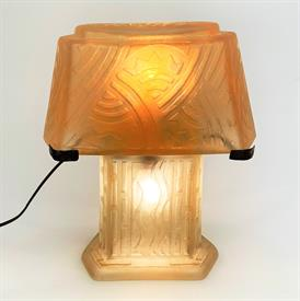 ",ART DECO TABLE LAMP ETCHED SIGNED 13""H X 9.85"" WIDE X 4.73"" DEEP. PRODUCED 1930-1939"