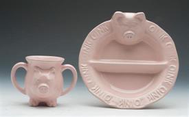 ,_PIG PLATE AND MUG SET PINK