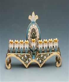 "-MENORAH 8"" X 3"" BLUE AND GOLD WITH LILY OF THE VALLEY AND BLUE STONES."