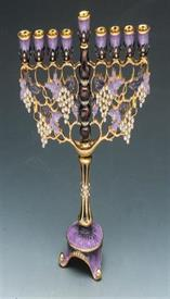 "-MENORAH 8""X 7.5"" LAVENDER AND PURPLE WITH CRYSTAL STONES."