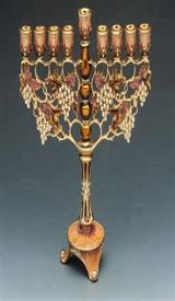"-MENORAH 8""X 7.5"" BROWN,BEIGE,GOLD WITH YELLOW STONES."