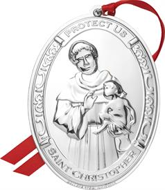 ,_5TH EDITION SAINT CHRISTOPHER STERLING SILVER ORNAMENT MADE BY WALLACE