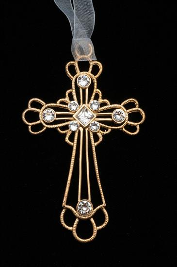 """Lunt GOLDPLATE CROSS ORNAMENT CRYSTAL 3.5"""" MADE BY LUNT IN YEAR                                                                              - Year Made   2015"""