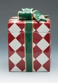 _ARGYLE COOKIE JAR PRESENT WITH BOW ON TOP