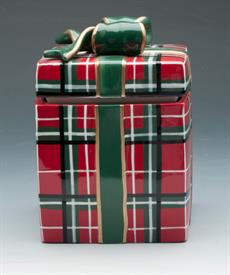 _PLAID COOKIE JAR PRESENT WITH BOW ON TOP.
