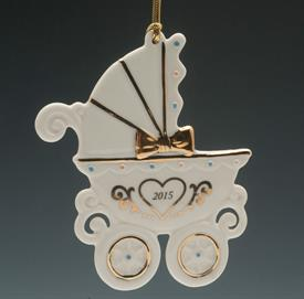 "_BABYS 1ST CARRIAGE 4"" PINK AND BLUE DOTS WITH HEART ON CARRIAGE GOLD BOW AND RIBBON FOR HANGING  2015 IN HEART"