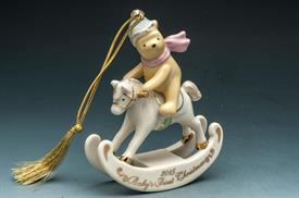 ,_WINNIE THE POOH BABY'S 1ST CHRISTMASPOOH ON ROCKING HORSE PINK BOW BLUE SADDLE,