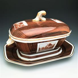 """,WOOD GRAIN TROMPE L'OEIL SOUP TUREEN AND UNDERPLATE MADE FOR NEIMAN MARCUS AFTER A 1780 NIDERVILLER SET. 9.75"""" TALL, 15,25"""" LONG, 11.75"""" WI"""