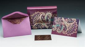 """-:BLANK-GOLD FOIL EMBOSSED PINK & PURPLE CARDS. INCLUDES 16 5""""x3.5"""" BLANK NOTE CARDS & LINED ENVELOPES."""