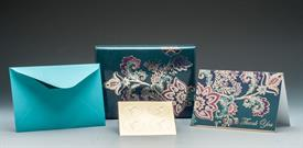 """-THANK YOU-GOLD FOIL EMBOSSED WITH PURPLE, MAGENTA & TURQUOISE FLOWERS. INCLUDES 16 5""""x3.25"""" THANK YOU NOTE CARDS & ENVELOPES. BLANK INSIDE."""
