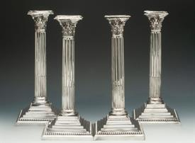 """SET OF 4 GEORGIAN STYLE CORINTHIAN MATCHED SET OF CANDLESTICKS SILVER PLATED 11.5"""" TALL CONDITION IS AN 8 OF 10 CEMENT FILLED"""