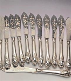 ",SET OF 12 INDIVIDUAL FISH KNIVES VICTORIAN ERA STERLING MADE IN ENGLAND 8.75"" LONG"