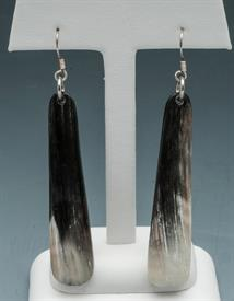 -TEARDROP EARRING DARK HGUNI HORN W/STERLING HOOKS MADE IN AFRICA. PROCEEDS HELP SUPPORT ANTI-POACHING MILITIAS.