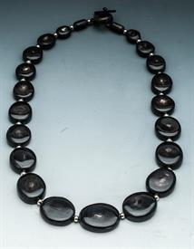 -FLAT BEAD NECKLACE DARK NGUNI HORN MADE IN AFRICA. PROCEEDS SUPPORT WILDLIFE FOUNDATION IN AFRICA TO HELP STOP POACHING.