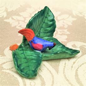 ",BLUE BIRD ON LEAF PLACE CARD HOLDER 3""L X 1.75""T"