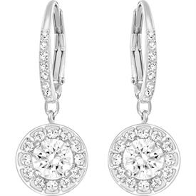 "-,5142721 ATTRACT EARRINGS IN CLEAR & RHODIUM PLATING. .8"" LONG"