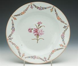 ",LOWESTOFT 9"" PLATE CIRCA 18TH CENTURYFLORAL DESIGN MINOR CHIPS ON RIM OTHERWISE EXCELLENT CONDITION"