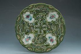 "SET OF 3 MORIAGE ARDALT GREEN CELADON PLATES BY LENWILE CHINA. PATTERN NO. 6328. 7.5"" WIDE. CA. 1945."