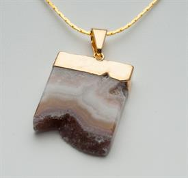 "-GN142G GEM NECKLACE AMETHYST SLICE BOTTOM DRUSE GOLD 1 1/4"". 24"" CHAIN"