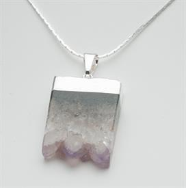 "-GN142S GEM NECKLACE AMETHYST SLICE BOTTOM DRUSE SILVER  1 1/4"". 24"" CHAIN"