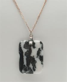 "_GN118 GEM NECKLACE, MEDIUM. 1 1/8"" x 1.5"" WITH 24"" CHAIN"