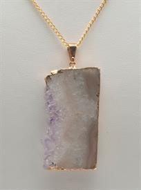 "-GN141G AMETHYST SLICE, SIDE DRUSE NECKALCE WITH A 24"" CHAIN"