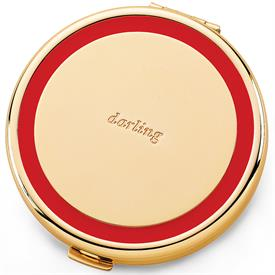 -852082 DARLING COMPACT MIRROR GOLD WITH RED ENAMEL TRIM.