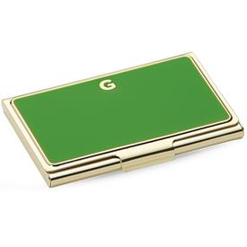"-,852096 INITIAL ""G"" BUSINESS CARD HOLDER  GREEN 3.75"" 9.53cm"