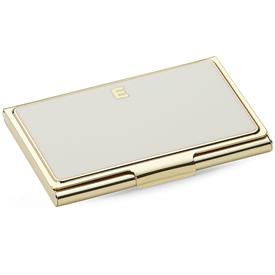 "-,852095 INITIAL ""E"" BUSINESS CARD HOLDER  CREAM 3.75""/9.5cm."