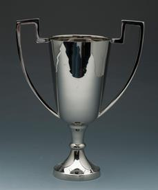 "_TROPHY NICKLE FINISH FOOTED 2 HANDLES15.5"" IN HEIGHT."
