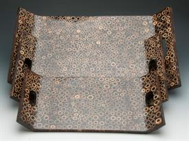 ,_TRAYS S/3 ASIAN  BROWN WITH TAN CIRCLES.8X15  10X17.5 12X20