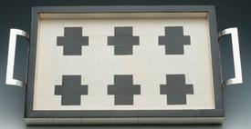 "_TRAY CROSS BONE IVORY W/BLACK STAINLESS HANDLES 18""X10""X1.5."