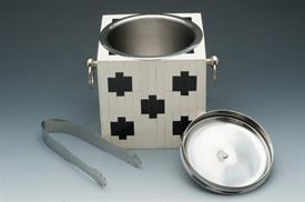 "_ICE BUCKET BLACK CROSS BONE WITH IVORY BONE  STAINLESS HANDLES /LID AND TONGS.6""X 6.5""SQUARE."