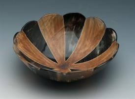 "-HORN BOWL SCALLOPED EDGE 8"" ACROSS 2.5""DEEP."