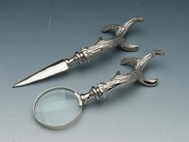 "_ANTLER DESK SET SILVER PLATED MAGNIFIER AND LETTER OPENER.7.5""IN LENGTH."