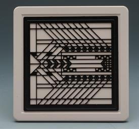 -PICTURE GLASS COASTERS S/4 FRANK L. WRIGHT DESIGN 4X4 SQUARE.